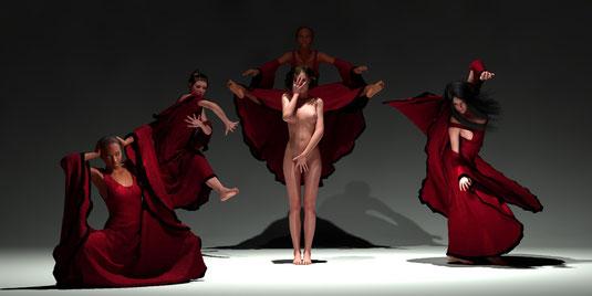 Tanzgruppe, digital art 3d, Bilder von Marcus Löhrer auf der Aachener Kunstroute 2017