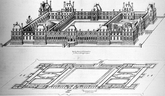 Plan des Tuileries par Jacques Ier Androuet du Cerceau.Source Jean-Pierre Babelon: Châteaux de France au siècle de la renaissance. Flammarion, Paris 1989