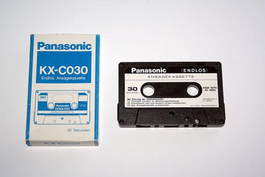 Endlos-Ansagekassette mit 30-Sekunden-Band und Verpackung