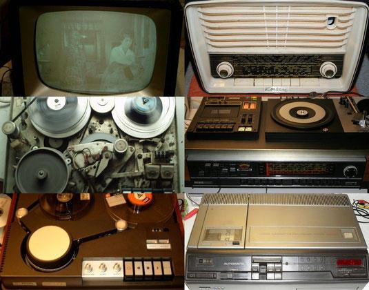 Alte elektronische Geräte wie Fernseher, Stereoanlagen und Videorekorder