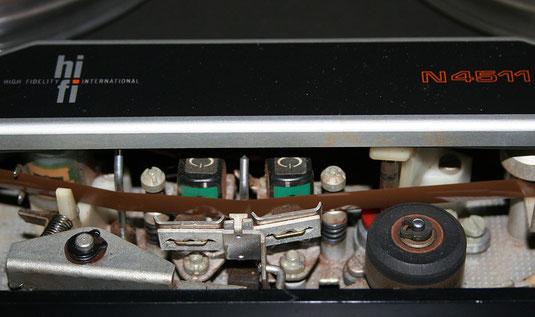 Tonköpfe und Bandführungen bei einem Tonbandgerät Philips N4511