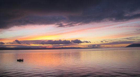 Couché de soleil sur les pêcheurs