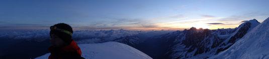 Objectif sommet au soleil levant
