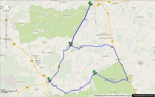 Route, ca. 100km