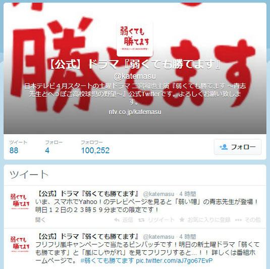 弱くても勝てます Twitterアカウント フォロワー数 10万越え (2014/4/11)