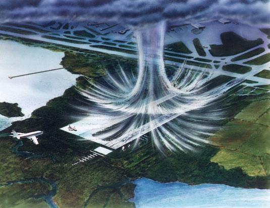 Ilustração de uma micro-explosão, feita pela NASA. Observe o movimento descendente do ar até atingir o nível do solo, que, em seguida, se espalha em todas as direções.