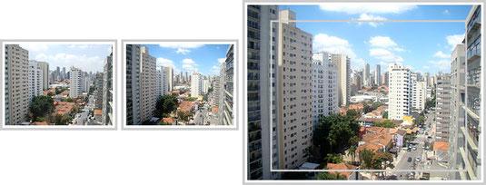 A 1ª foto foi capturada por uma câmera com lente de 38 mm. A 2ª foto foi capturada por uma câmera com lente de 31 mm. A 3ª foto mostra o que foi capturado pela lente de 38 mm (dentro da borda) em relação à mais larga, de 31 mm (fora da borda).