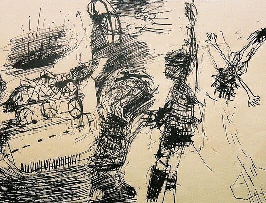 Ulysse, projet pour une gravure, marker noir sur papier, 2000