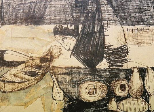 Ulysse, projet pour une gravure, marker noir et scotch tesa sur papier, 2000