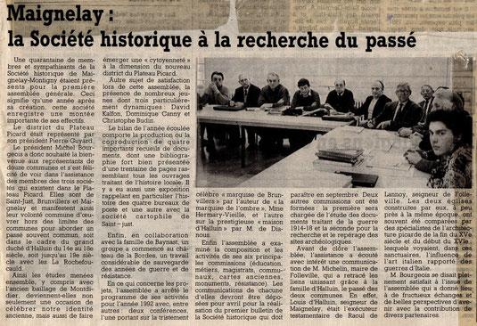 Le Courrier Picard du 23 janvier 1992