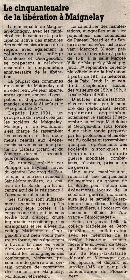 Le Courrier Picard du 23 août 1994