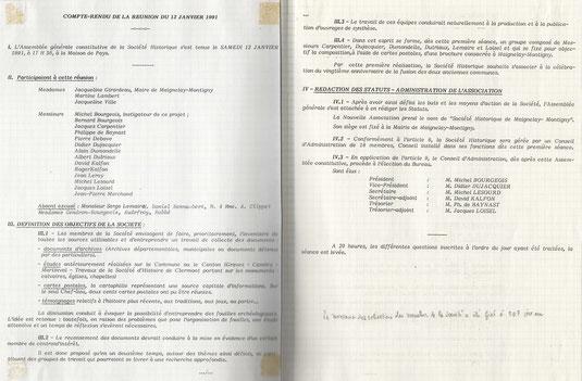 Compte-rendu de l'assemblée générale constitutive du 12 janvier 1991