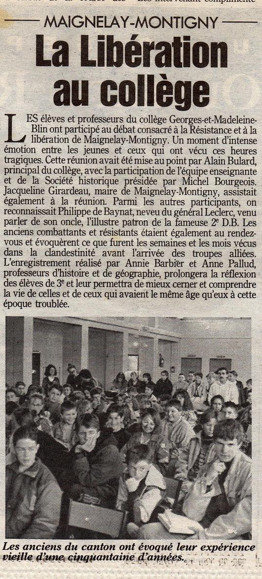 Le Parisien du 22 septembre 1994