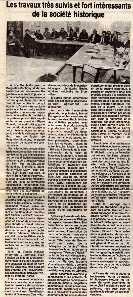 Le Bonhomme picard du 23 janvier 1992