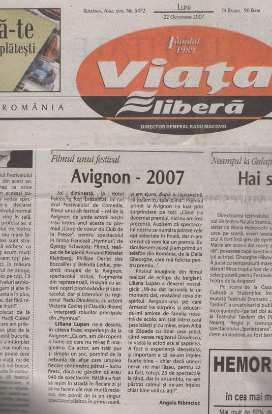 Article de la presse roumaine - Avignon 2007 : Les Roumains engagent une compagnie belge : Les Spectacles Kleinberg avec Armand Richelet et Philippe Derlet