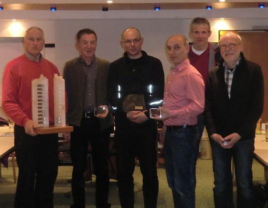Von Links: RTF Fachwart Volkmar Kretschmer, Norbert Stoer, F. J. Strunz, 1 Vorsitzender Bernd Materne, Dieter Weber, Kassierer Dieter Kothke
