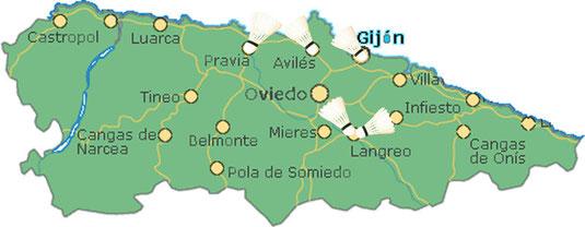 Mapa representativo de las ciudades donde se practica este deporte