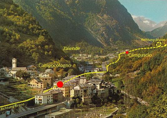 570-005 Diese moderne Karte gibt eine gute Übersicht über den oberen Teil des Ortes und den Streckenverlauf (Furter, Davos-Platz)