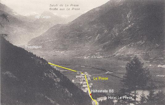 515-006 Streckenverlauf anhand Postkarte Engadin Press, unglaufen