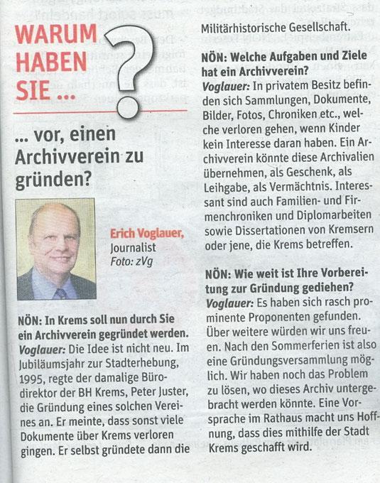 Erich Voglauer im Interview mit den NÖN