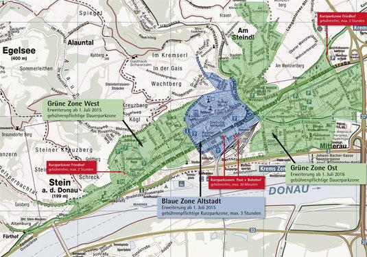 Grafik: Das Konzept, welches die Arbeitsgruppe Parken erarbeitet hat, sieht die Erweiterung der Grünen Zone in zentrumsnahen Bereichen vor. Foto: Stadt Krems