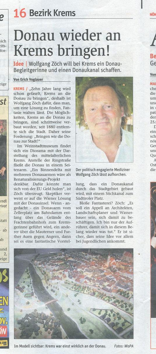 """2die Donau an Krems heranbringen"""" appelliert Dr. Wolfgang Zöch. Der bericht erschien in der Postwurfausgabe der NÖN Krems."""