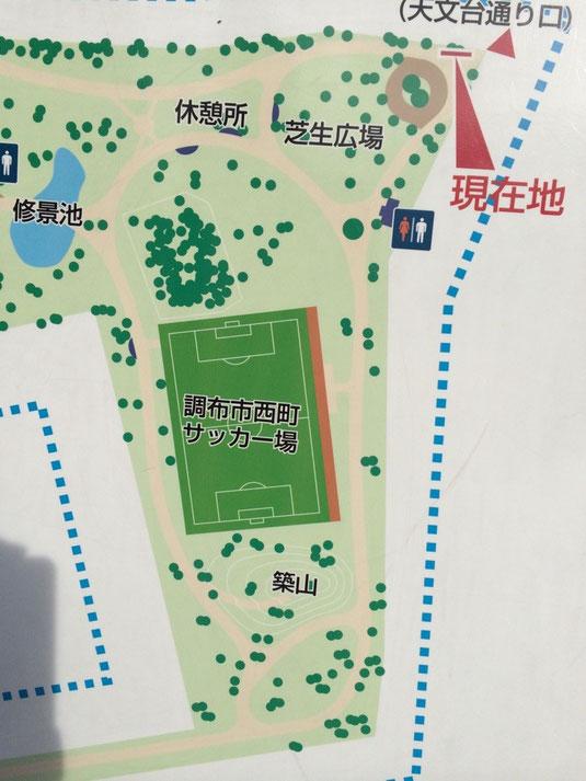 休憩所からサッカー場を一周すると約400m