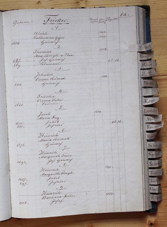 Original-Familienbuch von 1846: Seite 64