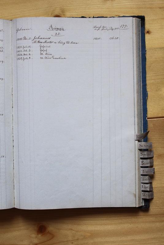 Original-Familienbuch von 1846: Seite 177