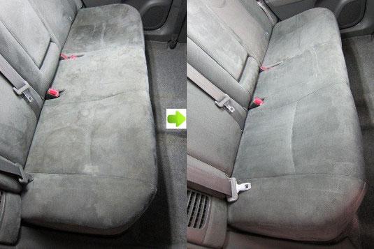 プリウスのシートのクリーニング・シミ取り・洗浄の施工前後比較写真1