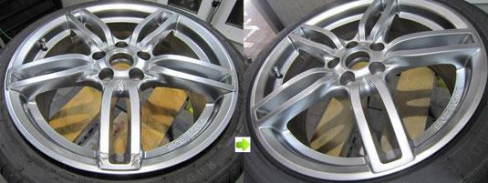 アウディ・A3・Sライン のアルミホイール(ハイパーシルバー)のガリ傷・擦りキズ・欠けのリペア(修理・修復・再生)前後比較写真