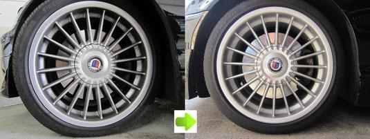 BMW アルピナ B3, 3.3L カブリオレ のアルミホイール4本とセンターカバー1枚のガリ傷・すりキズ・塗装はげ・引っかき傷のリペア(修理・修復・再生)前後比較写真2
