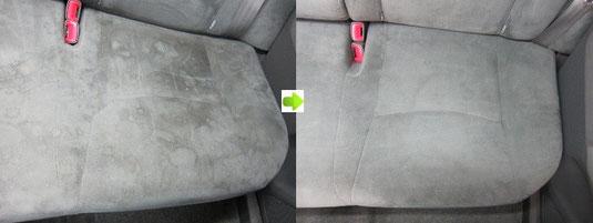 プリウスのシートのクリーニング・シミ取り・洗浄の施工前後比較写真4