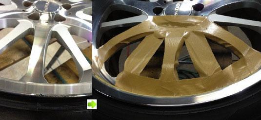 レクサス LS (逆輸入セルシオ)の20インチアルミホイール「WALD(ヴァルド)のPortofino(ポルトフィーノ)」のガリ傷・擦りキズのリペア(修理・修復・再生)前後の比較写真