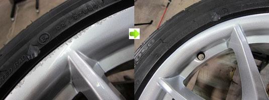 ベンツB180純正アルミホイールのガリ傷・擦り修理の施工前後比較写真アップ写真その3
