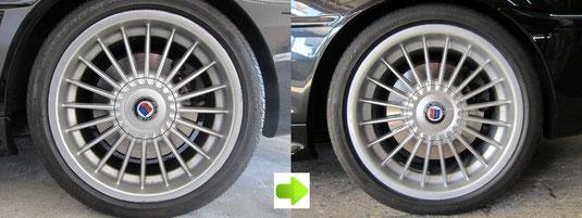 BMW アルピナ B3, 3.3L カブリオレ のアルミホイール4本とセンターカバー1枚のガリ傷・すりキズ・塗装はげ・引っかき傷のリペア(修理・修復・再生)前後比較写真1