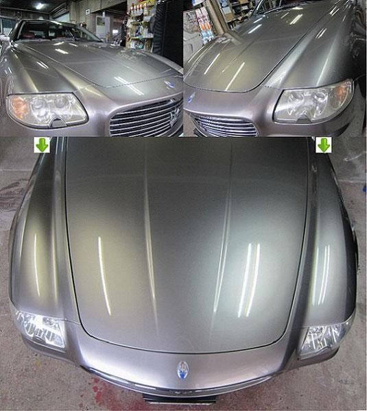 マセラティ・クアトロポルテのヘッドライトの曇り・黄ばみ取り(除去・修理)施工前後比較写真3