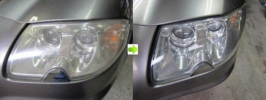 マセラティ・クアトロポルテのヘッドライトの曇り・黄ばみ取り(除去・修理)施工前後比較写真2