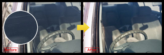 スクラッチリペア(フロントガラスの傷修理)施工前後比較写真