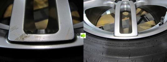 アウディ・A3・Sライン のアルミホイール(ハイパーシルバー)のガリ傷・擦りキズ・欠けのリペア(修理・修復・再生)前後比較アップ写真4