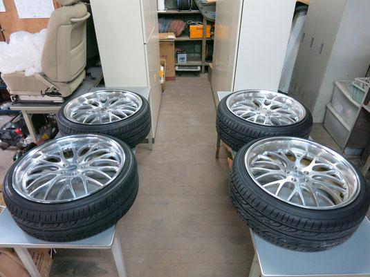 レクサスCT200hの19インチ社外アルミホイール(ワーク グノーシス)の、ガリ傷・すりキズ・欠けのリペア(修理・修復)後のホイール4本写真