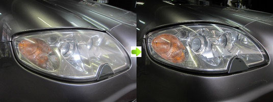 マセラティ・クアトロポルテのヘッドライトの曇り・黄ばみ取り(除去・修理)施工前後比較写真1