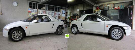 ホンダビート純正アルミホイール全4本ガリ傷・すりキズのリペア(修理・修復)&全面カラーチェンジ塗装施工前後比較車輛全景写真