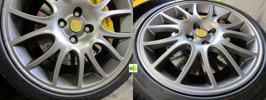 フィアット アバルト695トリブート・フェラーリ の純正アルミホイールのガリ傷・擦りキズのリペア(修理・修復)前後の比較写真2