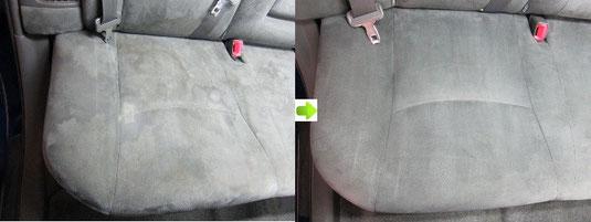 プリウスのシートのクリーニング・シミ取り・洗浄の施工前後比較写真2