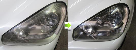車(日産nissanシーマ)のヘッドライトのレンズの曇り(くもり)・黄ばみ(きばみ)取り(除去)の施工前施工後(ビフォーアフター)の比較写真1