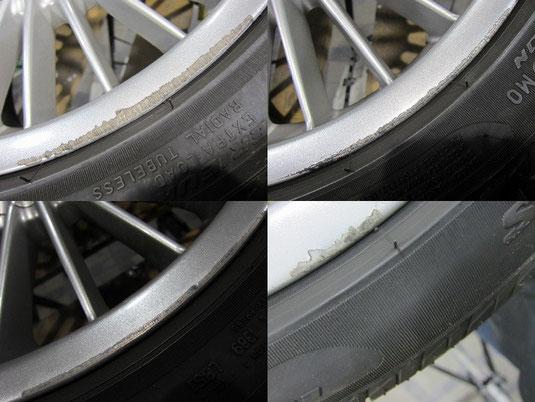 BMW アルピナ B3, 3.3L のアルミホイールのガリ傷・すりキズ・塗装はげ・引っかき傷のリペア(修理・修復・再生)前の傷の写真1