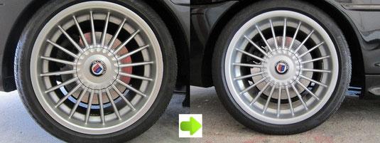 BMW アルピナ B3, 3.3L カブリオレ のアルミホイール4本とセンターカバー1枚のガリ傷・すりキズ・塗装はげ・引っかき傷のリペア(修理・修復・再生)前後比較写真4