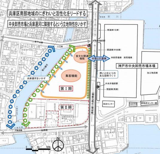 神戸中央市場本場西側跡地にオープン予定の地下鉄中央市場駅と直結大型ショッピングモール(イオンモール)の位置図