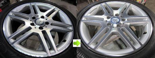 ベンツ C200 CGI のホイールのガリ傷・すりキズ・欠けのリペア(修理・修復・再生)前後比較写真